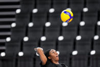 Foluke Akinradewo Gunderson practices the United States women's volleyball team during a training session at the 2020 Summer Olympics, Thursday, July 22, 2021, in Tokyo, Japan. A third trip to the Olympics was far from a sure thing for Gunderson when she gave birth to her first son in November 2019. But Gunderson had set a goal of being both a mother and professional athlete and took advantage of the delayed Olympics to make it back again this year in search of that elusive gold medal. (AP Photo/Manu Fernandez)