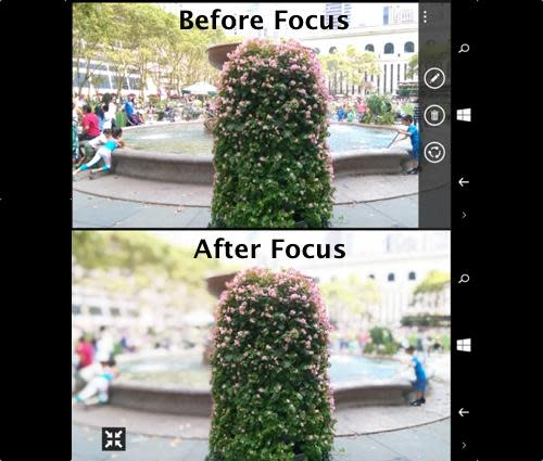 Images showing Duo Camera's focusing feature