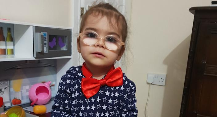 Sarah (pictured as a toddler) was born with a genetic disorder that left her without a functioning immune system. (Supplied: Great Ormond Street Hospital)