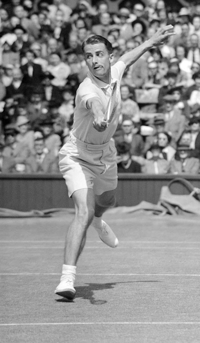 British tennis player Henry 'Bunny' Austin, in play during his match with American tennis player Elwood Cooke at Wimbledon, London, on July 3, 1939. (AP Photo)