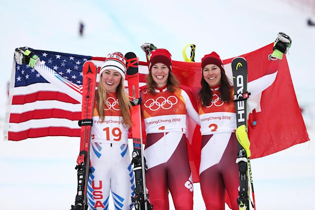 <p>Silver medalist, Mikaela Shiffrin of the United States, gold medalist, Michelle Gisin of Switzerland and bronze medalist Wendy Holdener of Switzerland celebrate on the podium during the Ladies' Alpine Combined on day thirteen of the PyeongChang 2018 Winter Olympic Games at Yongpyong Alpine Centre on February 22, 2018 in Pyeongchang-gun, South Korea. (Photo by Dan Istitene/Getty Images) </p>