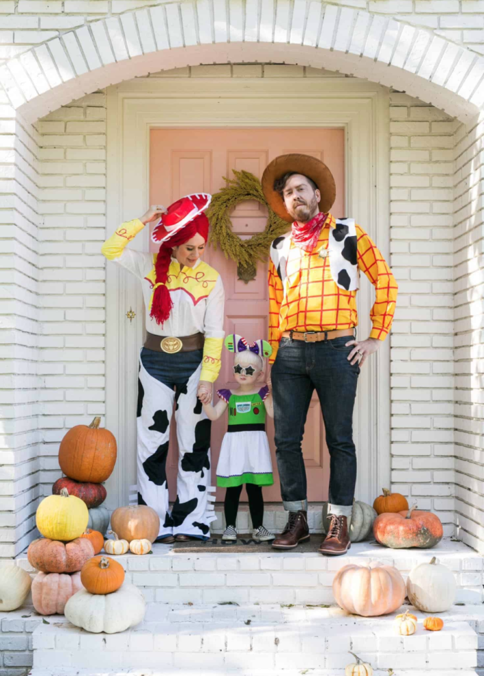 """<p>If you love Disney as much as you love the wild, wild West, you'll swoon over this <em>Toy Story</em> family costume. After all, you can never go wrong with Jessie, Woody, and Buzz. And if you have a four-legged friend, they can be Bullseye!</p><p>Get the tutorial at <a href=""""https://abeautifulmess.com/toy-story-family-halloween-costume/"""" rel=""""nofollow noopener"""" target=""""_blank"""" data-ylk=""""slk:A Beautiful Mess"""" class=""""link rapid-noclick-resp"""">A Beautiful Mess</a>.</p><p><a class=""""link rapid-noclick-resp"""" href=""""https://www.amazon.com/Elope-Story-Jessie-Costume-Cowgirl/dp/B003IBKAQ2?tag=syn-yahoo-20&ascsubtag=%5Bartid%7C2164.g.33925966%5Bsrc%7Cyahoo-us"""" rel=""""nofollow noopener"""" target=""""_blank"""" data-ylk=""""slk:SHOP TOY STORY JESSIE HATS"""">SHOP <em>TOY STORY</em> JESSIE HATS</a></p>"""