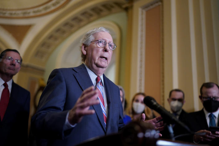 In this Sept. 14, 2021 photo, Senate Minority Leader Mitch McConnell, R-Ky., speaks to reporters at the Capitol in Washington. McConnell has warned Treasury Secretary Janet Yellen he is not budging on his demand that Democrats go it alone on the federal debt limit, deepening the emerging standoff in Congress over how to boost the government's borrowing authority. (AP Photo/J. Scott Applewhite)