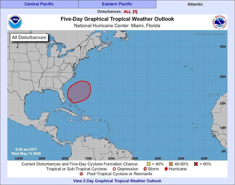 The weather system that could potentially become Tropical Storm Arthur: National Oceanographic and Atmospheric Administration
