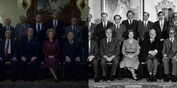 <p>Season 4 dives into the Prime Minister term of Margaret Thatcher. One of the most important moments in the season's trailer? Thatcher's burgundy suit, which she wore in her historic cabinet portrait. </p>