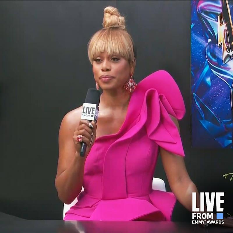 Actor and E! host Laverne Cox was a vision in fuscia. Photo: Instagram/eentertainment.