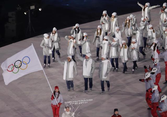 <p>Russian athletes arrive during the opening ceremony of the 2018 Winter Olympics in Pyeongchang, South Korea, Friday, Feb. 9, 2018. (AP Photo/Natacha Pisarenko) </p>