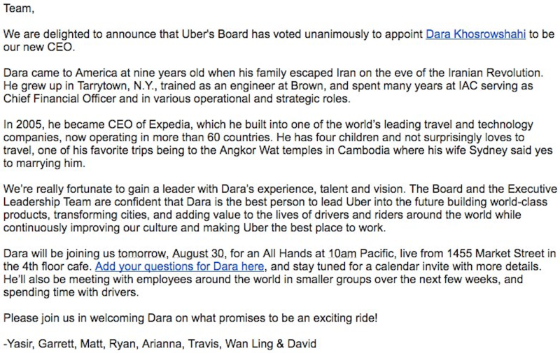 Here's Arianna Huffington's memo welcoming new Uber CEO Dara Khosrowshahi