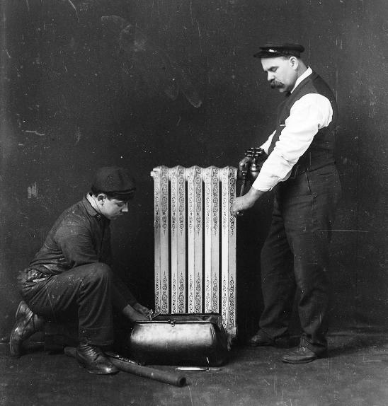 An early central heating system, 1880. (Image: Mirrorpix)