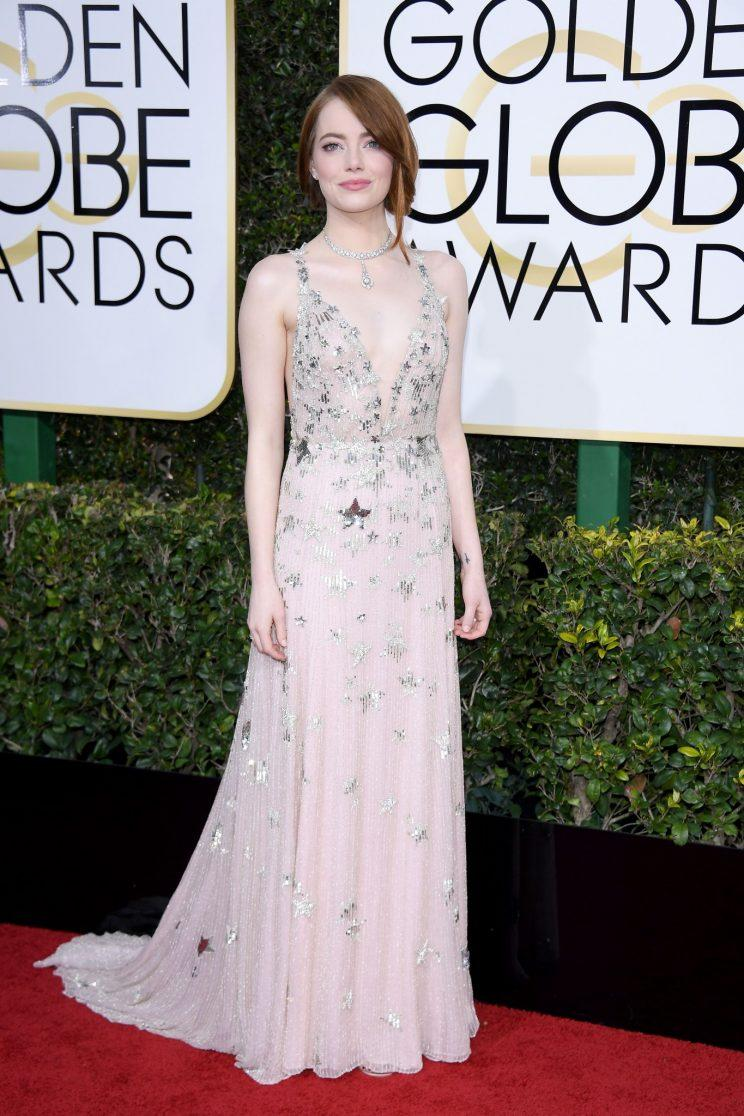 Emma Stone in Valentino. (Photo: Getty Images)
