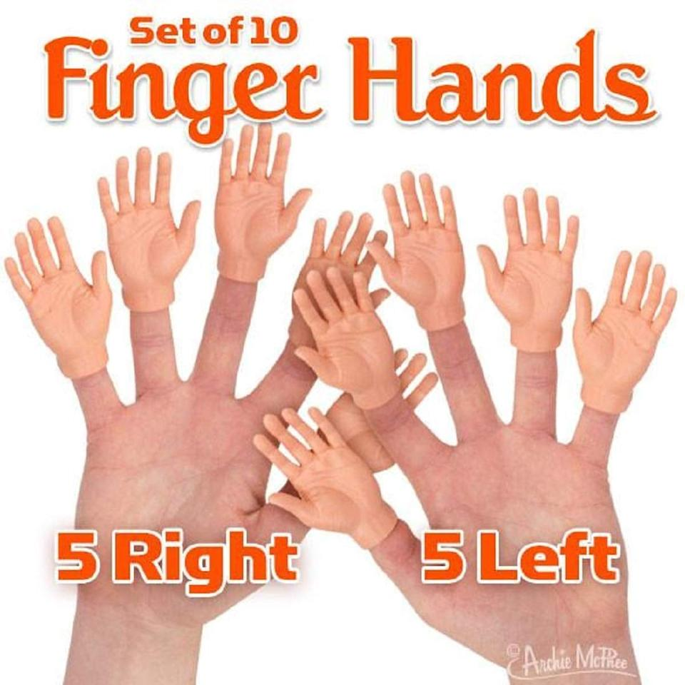 """<p>Everyone needs these <a href=""""https://www.popsugar.com/buy/Accoutrements-Set-Ten-Finger-Hands-Finger-Puppets-497527?p_name=Accoutrements%20Set%20of%20Ten%20Finger%20Hands%20Finger%20Puppets&retailer=amazon.com&pid=497527&price=10&evar1=savvy%3Aus&evar9=46710487&evar98=https%3A%2F%2Fwww.popsugar.com%2Fsmart-living%2Fphoto-gallery%2F46710487%2Fimage%2F46710950%2FAccoutrements-Set-Ten-Finger-Hands-Finger-Puppets&list1=shopping%2Choliday%2Chumor%2Cgift%20guide%2Cwhite%20elephant%20gifts&prop13=mobile&pdata=1"""" rel=""""nofollow"""" data-shoppable-link=""""1"""" target=""""_blank"""" class=""""ga-track"""" data-ga-category=""""Related"""" data-ga-label=""""https://www.amazon.com/dp/B00OACD9CU/ref=cm_gf_aWE_i03_d_p0_c0_qd4___________________QDI9F1B6IWZoptpLSI4V"""" data-ga-action=""""In-Line Links"""">Accoutrements Set of Ten Finger Hands Finger Puppets</a> ($10) in their lives.</p>"""