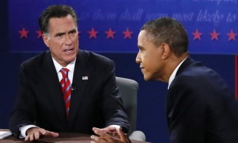 President Obama and Mitt Romney during their final debate on Oct. 22: Both Obama and Romney stretched the truth in certain areas in their Florida face-off.