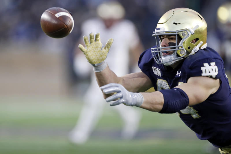 Notre Dame TE Cole Kmet could be a good upgrade for a Bears team needing help at the position. (Photo by Joe Robbins/Getty Images)