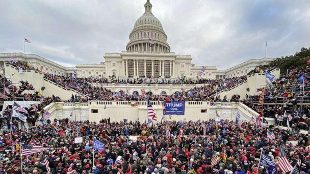 PHOTO: President Donald Trump's supporters gather outside the Capitol building in Washington D.C., on Jan. 06, 2021. (Tayfun Coskun/Anadolu Agency via Getty Images, FILE)