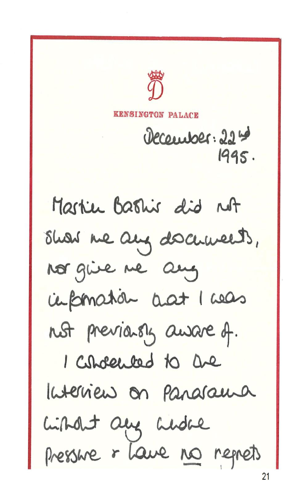 Diana wrote a note saying she had 'no regrets' about the interviewPA Media