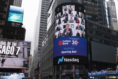 Cathay General Bancorp today virtually rang the Nasdaq opening bell to celebrate the 30th anniversary of its Nasdaq listing.