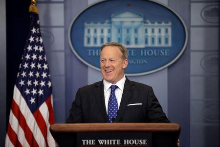 FILE PHOTO: White House spokesman Sean Spicer holds a press briefing at the White House in Washington, U.S., February 21, 2017. REUTERS/Carlos Barria/File Photo