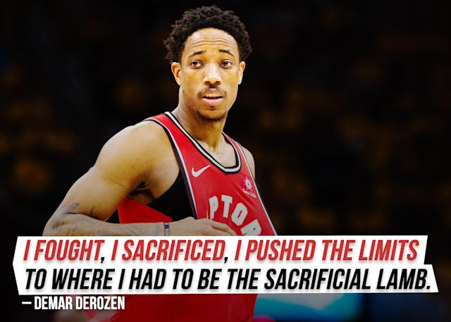 """<a href=""""https://sports.yahoo.com/de-mar-de-rozan-takes-credit-for-raptors-rise-i-had-to-be-the-sacrificial-lamb-012341273.html"""" data-ylk=""""slk:DeMar DeRozan tells Bleacher Report;outcm:mb_qualified_link;_E:mb_qualified_link;ct:story;g:undefined;"""" class=""""link rapid-noclick-resp yahoo-link"""">DeMar DeRozan tells Bleacher Report</a> about his trade from the Toronto Raptors and the groundwork he laid out, which led to the team's current success."""
