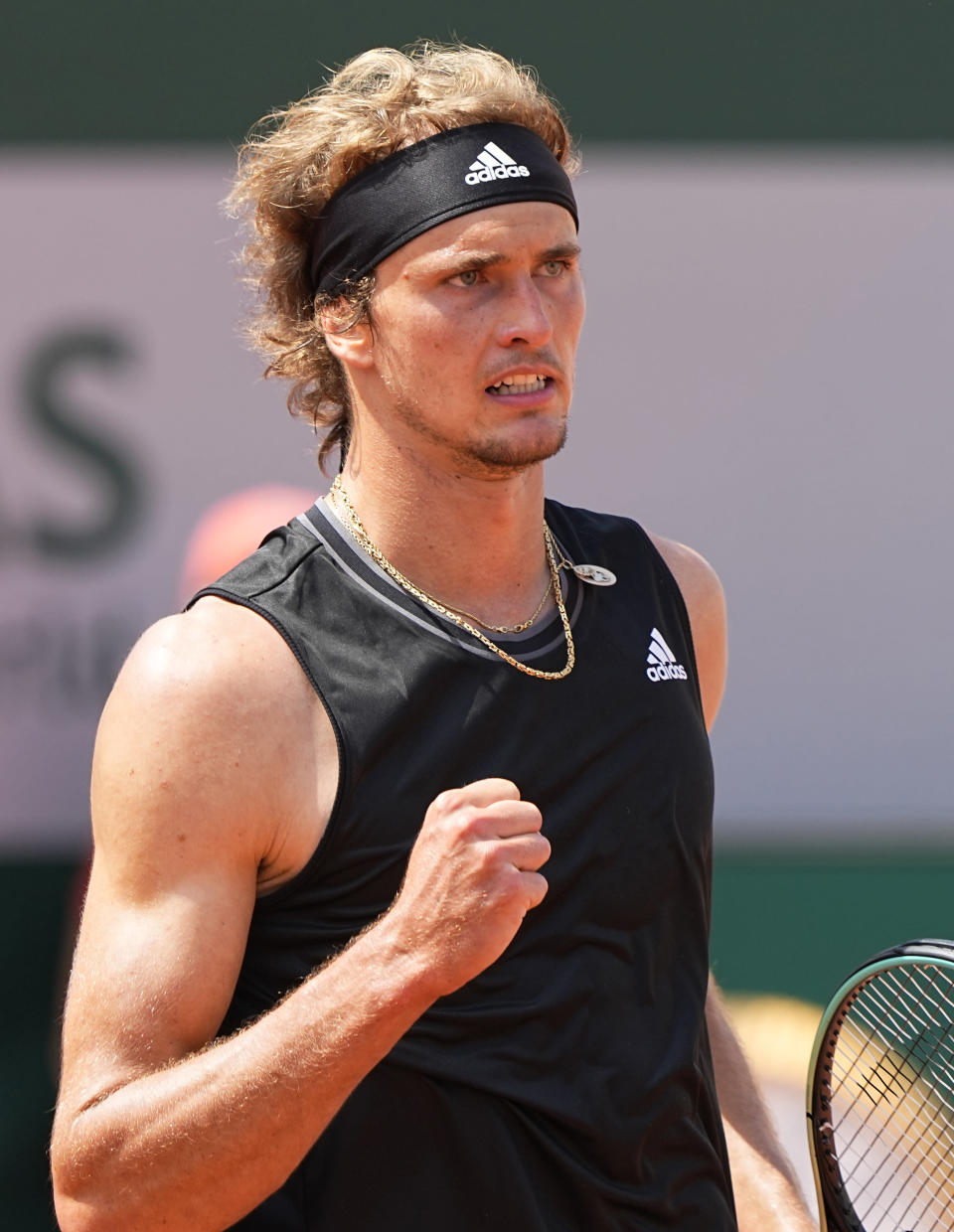 Germany's Alexander Zverev celebrates after winning a point against Russia's Roman Safiullin during their second round match on day four of the French Open tennis tournament at Roland Garros in Paris, France, Wednesday, June 2, 2021. (AP Photo/Michel Euler)