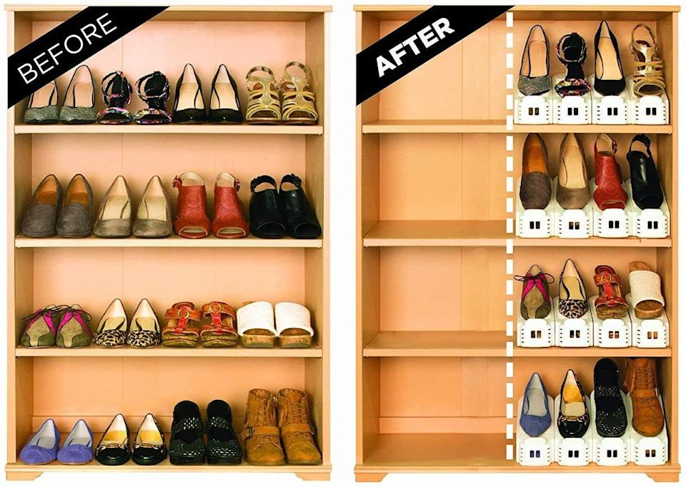 """Having more room means you can buy even more shoes!<br /><br /><strong></strong><strong>Promising review:</strong>""""Confession time. I am a bit of a shoe fiend.<strong>These little shoe slots have allowed me to fit way more shoes in my closet shelving (yay!) AND having them organized like this keeps my shoes looking nicer because they aren't all scraping against each other.</strong>It also helps me remember which shoes I have because they are all visible. :) The little heel stoppers pop out every so often when I am getting shoes, which is sort of annoying, but this is still a five-star purchase."""" —<a href=""""https://amzn.to/3wSgy1w"""" target=""""_blank"""" rel=""""nofollow noopener noreferrer"""" data-skimlinks-tracking=""""5902331"""" data-vars-affiliate=""""Amazon"""" data-vars-href=""""https://www.amazon.com/gp/customer-reviews/RPAEJN67RA6NI?tag=bfmal-20&ascsubtag=5902331%2C24%2C37%2Cmobile_web%2C0%2C0%2C16540708"""" data-vars-keywords=""""cleaning"""" data-vars-link-id=""""16540708"""" data-vars-price="""""""" data-vars-product-id=""""20969097"""" data-vars-product-img="""""""" data-vars-product-title="""""""" data-vars-retailers=""""Amazon"""">MoniqueRamsay<br /><br /></a><strong>Get them from Amazon for<a href=""""https://amzn.to/32gQGhZ"""" target=""""_blank"""" rel=""""nofollow noopener noreferrer"""" data-skimlinks-tracking=""""5902331"""" data-vars-affiliate=""""Amazon"""" data-vars-asin=""""B0779JSCHK"""" data-vars-href=""""https://www.amazon.com/dp/B0779JSCHK?tag=bfmal-20&ascsubtag=5902331%2C24%2C37%2Cmobile_web%2C0%2C0%2C16540672"""" data-vars-keywords=""""cleaning"""" data-vars-link-id=""""16540672"""" data-vars-price="""""""" data-vars-product-id=""""17872523"""" data-vars-product-img=""""https://m.media-amazon.com/images/I/51hRsncZwML.jpg"""" data-vars-product-title=""""Shoe Slotz Space-Saving Storage Units in Ivory   As Seen on TV   No Assembly Required   Limited Edition Price Club Value Pack, 10 Piece Set (1)"""" data-vars-retailers=""""Amazon"""">$23.99</a>.</strong>"""
