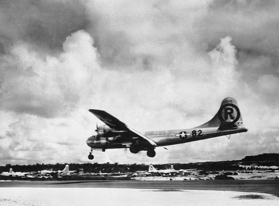"The ""Enola Gay"" Boeing B-29 Superfortress lands at Tinian, Northern Mariana Islands after the U.S. atomic bombing mission against the Japanese city of Hiroshima on Aug. 6, 1945."