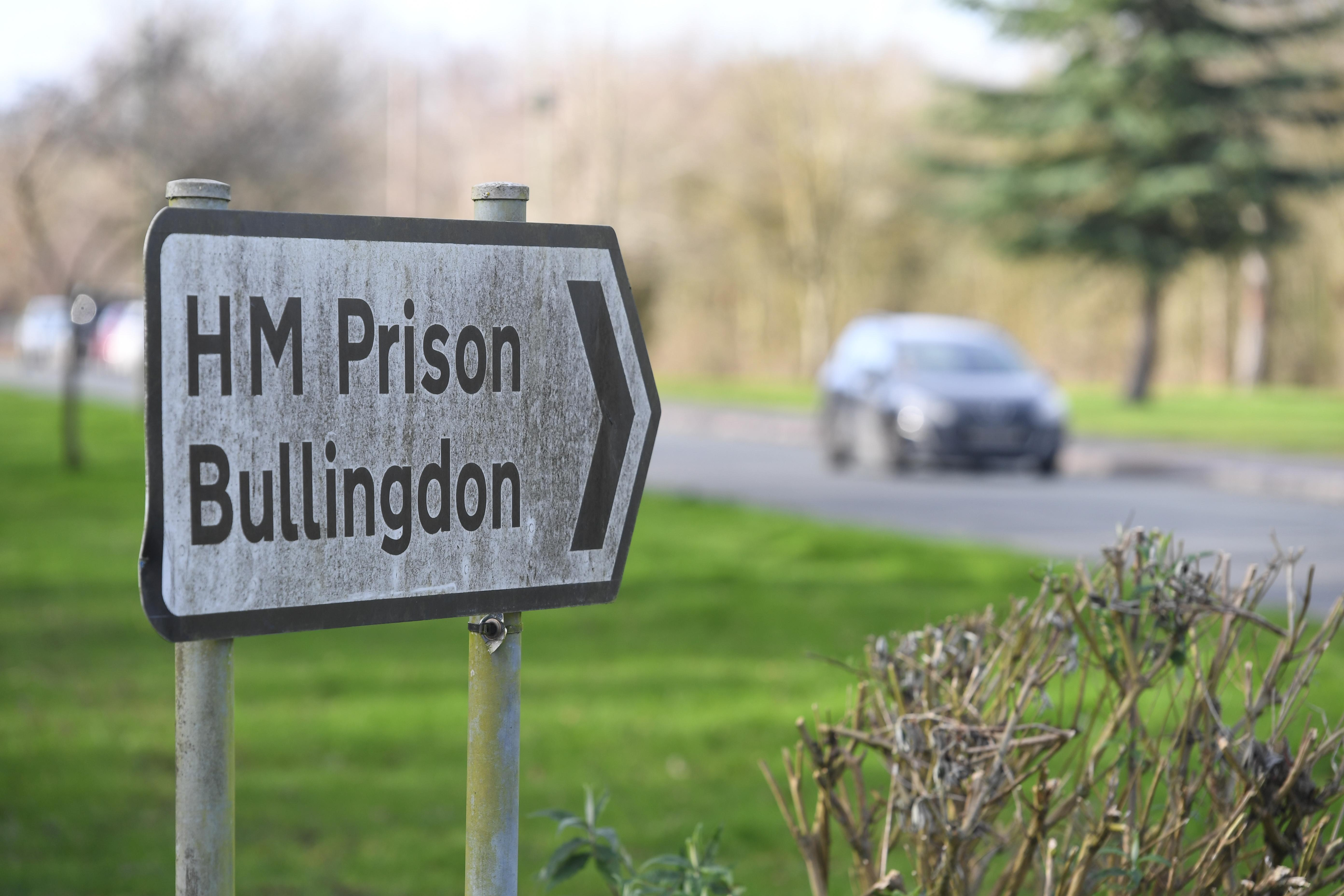 A sign for HMP Bullingdon, Oxfordshire, where it is understood two prisoners are being tested for the coronavirus and are being held in isolation.