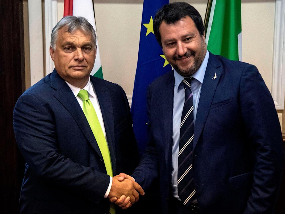 Italy's Matteo Salvini meeting with Hungary's far-right prime minister Viktor Orban (Getty)