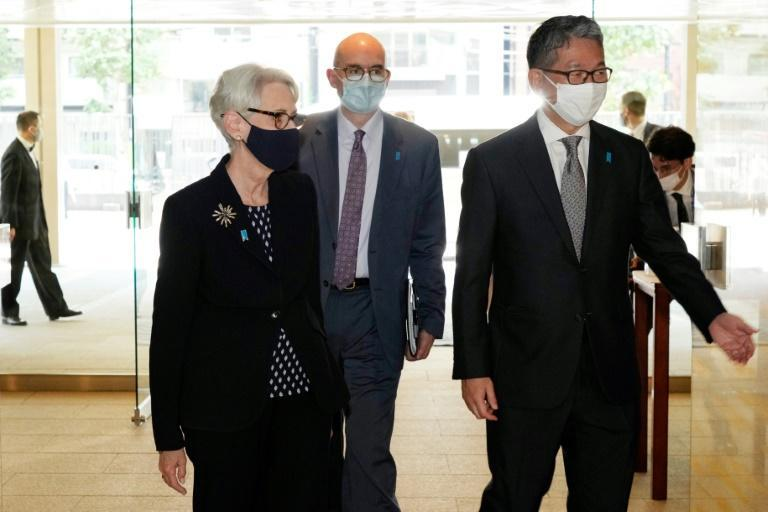US Deputy Secretary of State Wendy Sherman is escorted by Japan's Vice Minister for Foreign Affairs Takeo Mori in Tokyo