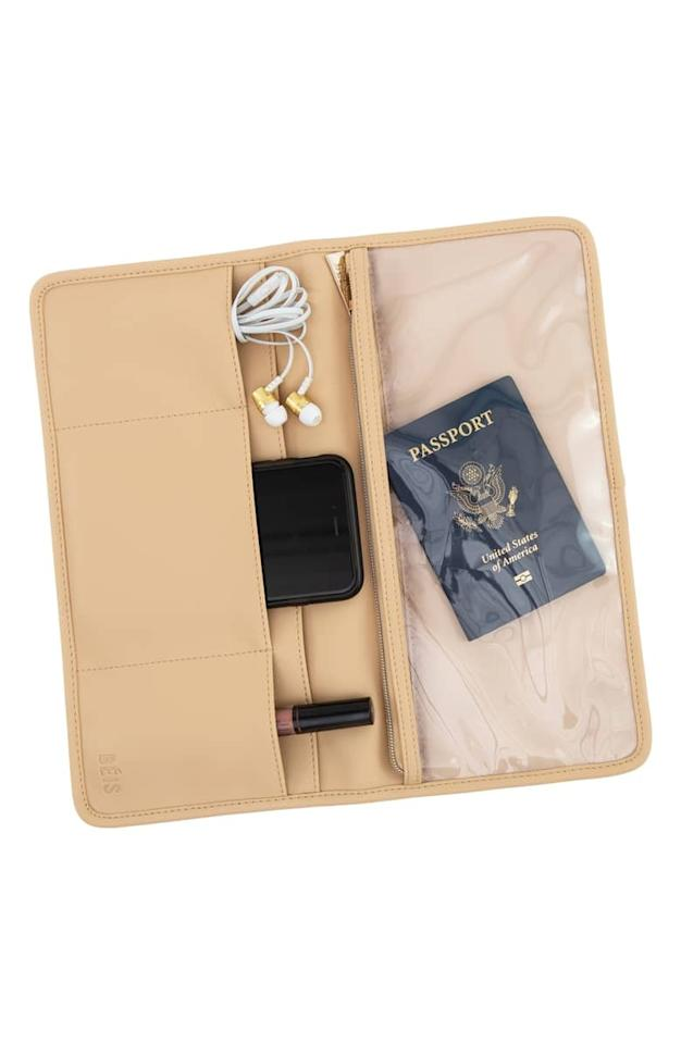 """<p>You don't have to touch the plane seat pouch now that you have this <a href=""""https://www.popsugar.com/buy/B%C3%A9--Flight-Organizer-Pouch-427453?p_name=B%C3%A9is%20The%20In-Flight%20Organizer%20Pouch&retailer=shop.nordstrom.com&pid=427453&price=28&evar1=savvy%3Aus&evar9=45960861&evar98=https%3A%2F%2Fwww.popsugar.com%2Fsmart-living%2Fphoto-gallery%2F45960861%2Fimage%2F45960886%2FB%C3%A9--Flight-Organizer-Pouch&list1=shopping%2Ctravel%2Caccessories%2Ctravel%20tips&prop13=mobile&pdata=1"""" rel=""""nofollow"""" data-shoppable-link=""""1"""" target=""""_blank"""" class=""""ga-track"""" data-ga-category=""""Related"""" data-ga-label=""""https://shop.nordstrom.com/s/beis-the-in-flight-organizer-pouch/5207534?origin=keywordsearch-personalizedsort&amp;breadcrumb=Home%2FAll%20Results&amp;color=beige"""" data-ga-action=""""In-Line Links"""">Béis The In-Flight Organizer Pouch</a> ($28).</p>"""