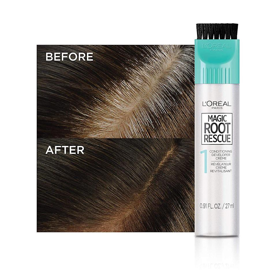 """It only takes 10 minutes to apply, but you'll get root coverage for a couple of weeks.<br /><br /><strong>Promising review:</strong>""""This is my go-to product to save me money so I don't have to go to the salon every month.<strong>Buys me a couple of months in between professional coloring.</strong>This is really easy to apply and I never have a problem matching whatever shade the salon uses on my hair."""" —<a href=""""https://www.amazon.com/dp/B001DYM62C?tag=huffpost-bfsyndication-20&ascsubtag=5815832%2C26%2C36%2Cd%2C0%2C0%2C0%2C962%3A1%3B901%3A2%3B900%3A2%3B974%3A3%3B975%3A2%3B982%3A2%2C16165005%2C0"""" target=""""_blank"""" rel=""""nofollow noopener noreferrer"""" data-skimlinks-tracking=""""5892167"""" data-vars-affiliate=""""Amazon"""" data-vars-href=""""https://www.amazon.com/gp/customer-reviews/R3N3EUWJAMF6XD?tag=bfemmalord-20&ascsubtag=5892167%2C29%2C50%2Cmobile_web%2C0%2C0%2C16502787"""" data-vars-keywords=""""cleaning,fast fashion"""" data-vars-link-id=""""16502787"""" data-vars-price="""""""" data-vars-product-id=""""20957429"""" data-vars-product-img="""""""" data-vars-product-title="""""""" data-vars-retailers=""""Amazon"""">Amanda Scott</a><br /><br /><strong>Get it from Amazon for<a href=""""https://www.amazon.com/dp/B001DYM62C?tag=huffpost-bfsyndication-20&ascsubtag=5815832%2C26%2C36%2Cd%2C0%2C0%2C0%2C962%3A1%3B901%3A2%3B900%3A2%3B974%3A3%3B975%3A2%3B982%3A2%2C16165005%2C0"""" target=""""_blank"""" rel=""""nofollow noopener noreferrer"""" data-skimlinks-tracking=""""5892167"""" data-vars-affiliate=""""Amazon"""" data-vars-asin=""""B003A874R6"""" data-vars-href=""""https://www.amazon.com/dp/B003A874R6?tag=bfemmalord-20&ascsubtag=5892167%2C29%2C50%2Cmobile_web%2C0%2C0%2C16502773"""" data-vars-keywords=""""cleaning,fast fashion"""" data-vars-link-id=""""16502773"""" data-vars-price="""""""" data-vars-product-id=""""17943345"""" data-vars-product-img=""""https://m.media-amazon.com/images/I/41uzdbUAI9L.jpg"""" data-vars-product-title=""""L'Oreal Paris Magic Root Rescue 10 Minute Root Hair Coloring Kit, Permanent Hair Color with Quick Precision Applicator, 100 percent Gray Coverage, 4 Dark Brown, 1 kit (Packa"""