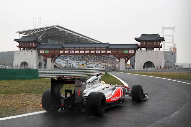 YEONGAM-GUN, SOUTH KOREA - OCTOBER 14: Lewis Hamilton of Great Britain and McLaren drives during practice for the Korean Formula One Grand Prix at the Korea International Circuit on October 14, 2011 in Yeongam-gun, South Korea. (Photo by Clive Rose/Getty Images)