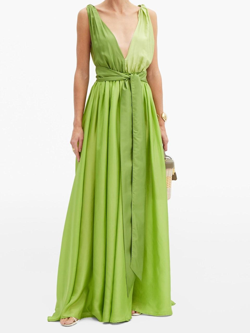 """<h2>Kalia Adonis Gown In Lime</h2><br>Shopping for a summer wedding? Surround yourself with feather-light silk habotai rendered in a tropical shade of lime green.<br><br><em>Shop Kalita at <strong><a href=""""https://www.matchesfashion.com/us/womens/designers/kalita/clothing/dresses"""" rel=""""nofollow noopener"""" target=""""_blank"""" data-ylk=""""slk:MatchesFashion"""" class=""""link rapid-noclick-resp"""">MatchesFashion</a></strong></em><br><br><strong>Kalita</strong> Adonis V-neck silk-habotai maxi dress, $, available at <a href=""""https://go.skimresources.com/?id=30283X879131&url=https%3A%2F%2Fwww.matchesfashion.com%2Fus%2Fproducts%2F1361735%3F"""" rel=""""nofollow noopener"""" target=""""_blank"""" data-ylk=""""slk:MatchesFashion"""" class=""""link rapid-noclick-resp"""">MatchesFashion</a>"""