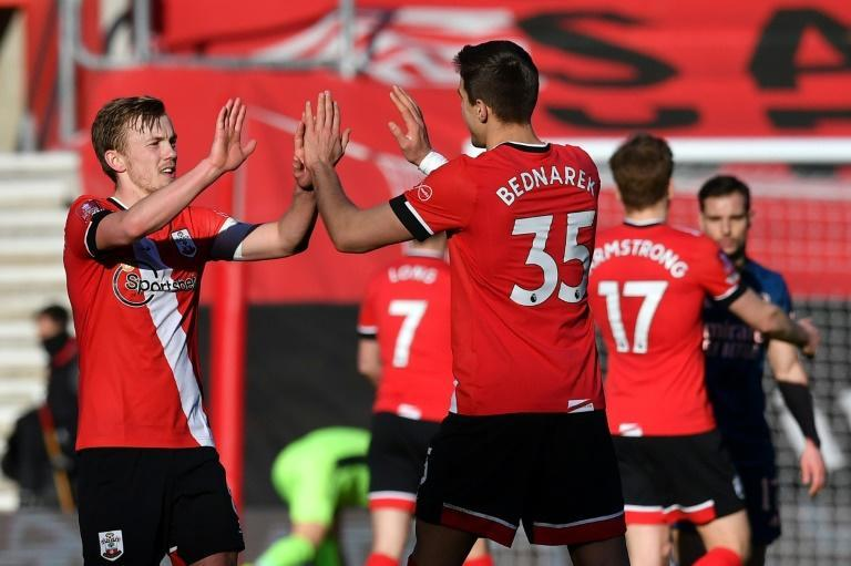 Southampton players celebrate their FA Cup fourth-round win against Arsenal