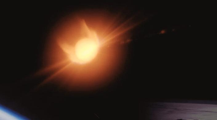 An illustration of Crew Dragon returning to Earth with a blaze of plasma ahead of its heat shield.