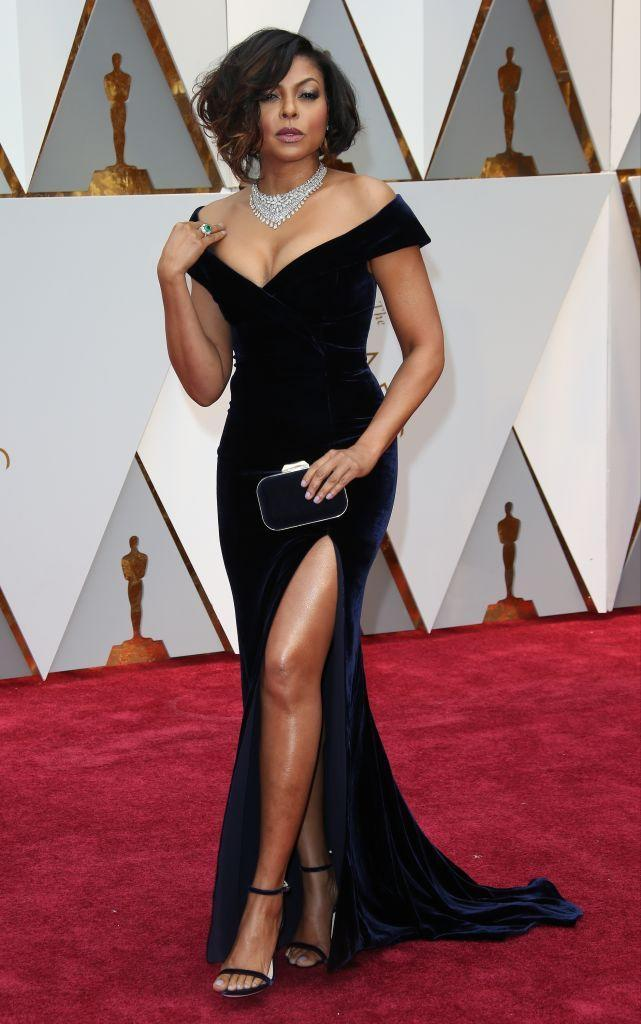 """<p>Taraji P. Henson in stunning Alberta Ferretti. Note also her <a href=""""https://www.townandcountrymag.com/style/jewelry-and-watches/g14456549/jewelry-awards-2017/"""" rel=""""nofollow noopener"""" target=""""_blank"""" data-ylk=""""slk:103-carat diamond necklace"""" class=""""link rapid-noclick-resp"""">103-carat diamond necklace</a>. </p>"""