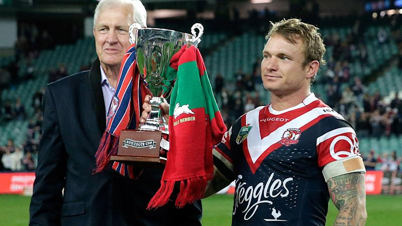 Ron Coote and Roosters captain Jake Friend, pictured here with the Ron Coote Cup in 2015.