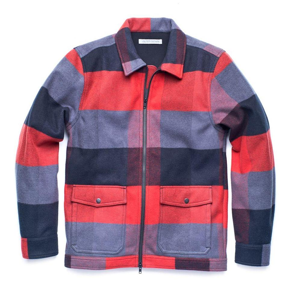 """<p><strong>Outerknown</strong></p><p>huckberry.com</p><p><strong>$149.98</strong></p><p><a href=""""https://go.redirectingat.com?id=74968X1596630&url=https%3A%2F%2Fhuckberry.com%2Fstore%2Fouterknown%2Fcategory%2Fp%2F60842-fleece-blanket-shirt-jacket&sref=https%3A%2F%2Fwww.esquire.com%2Fstyle%2Fmens-fashion%2Fg33483963%2Fhuckberry-summer-sale%2F"""" rel=""""nofollow noopener"""" target=""""_blank"""" data-ylk=""""slk:Buy"""" class=""""link rapid-noclick-resp"""">Buy</a></p><p>As soft as your coziest blanket but with a zip-front closure. </p>"""