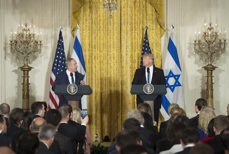 US President Donald Trump (R) and Israeli Prime Minister Benjamin Netanyahu at the White House in February. The pair will meet again next week in Israel (AFP Photo/SAUL LOEB)