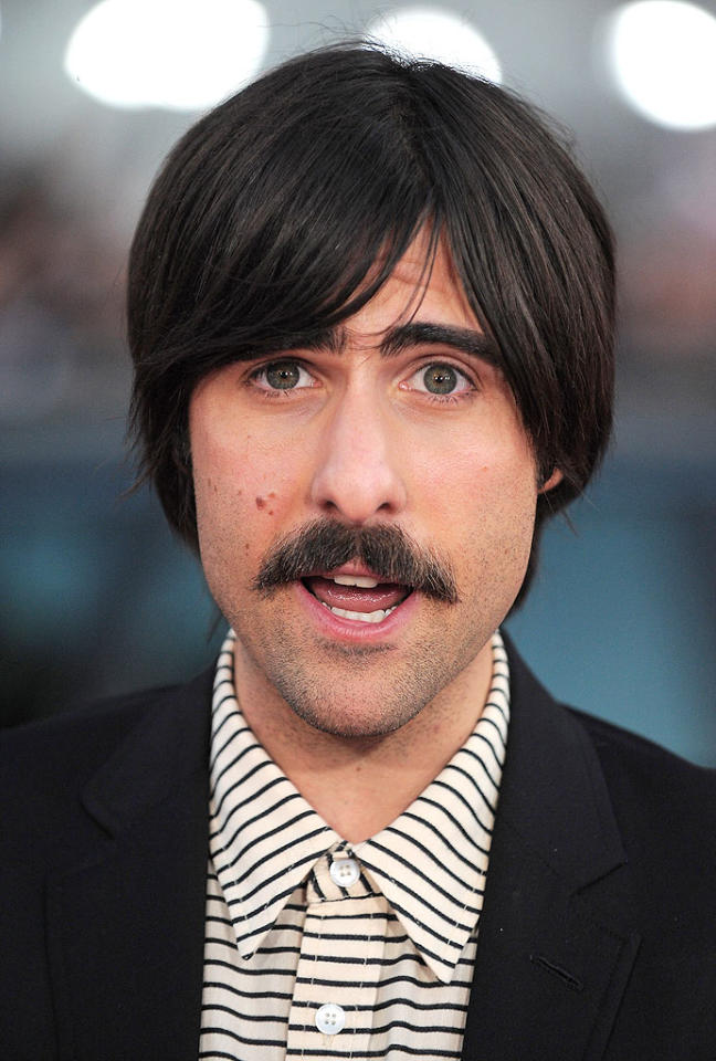 "Hopefully Jason Schwartzman's scary 'stache is for a movie role because the only men who can rock this questionable facial fuzz are Tom Selleck and Burt Reynolds. Jordan Strauss/<a href=""http://www.wireimage.com"" target=""new"">WireImage.com</a> - July 27, 2010"