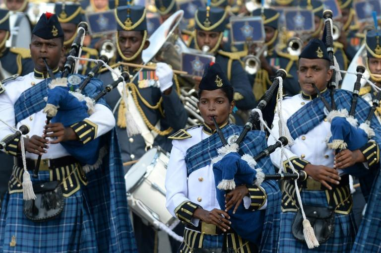 Members of the air force band march during the parade in Colombo