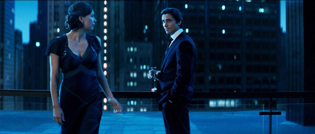 """<a href=""""http://movies.yahoo.com/movie/contributor/1800360995"""">Maggie Gyllenhaal</a> as Rachel Dawes and <a href=""""http://movies.yahoo.com/movie/contributor/1800018597"""">Christian Bale</a> as Bruce Wayne in Warner Bros. Pictures' <a href=""""http://movies.yahoo.com/movie/1809271891/info"""">The Dark Knight</a> - 2008"""