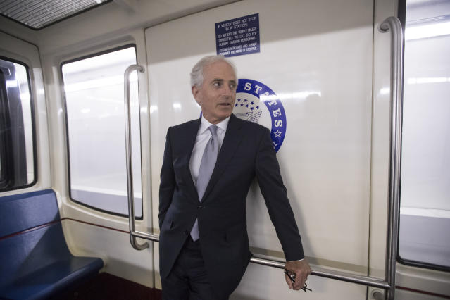 Sen. Bob Corker, R-Tenn., pauses while riding the Senate subway to the Capitol on Tuesday. (Photo: J. Scott Applewhite/AP)