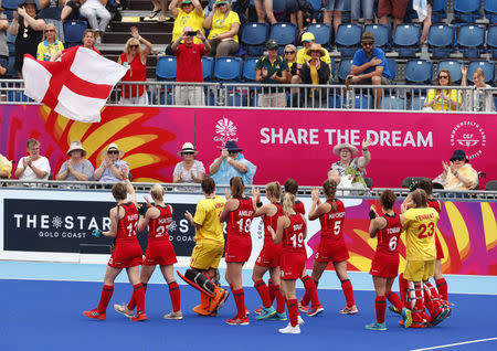Hockey - Gold Coast 2018 Commonwealth Games - Women's Bronze Medal Match - England v India - Gold Coast Hockey Centre - Gold Coast, Australia - April 14, 2018. England players celebrate after winning the match. REUTERS/David Gray