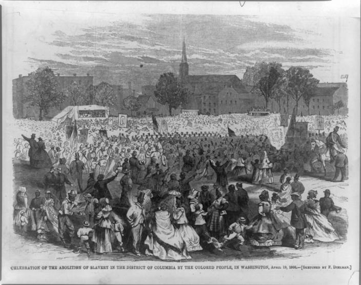 Celebration of the abolition of slavery in the District of Columbia, 1866.