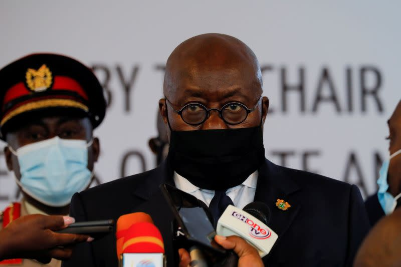 FILE PHOTO: Ghanaian President Nana Akufo-Addo, new chairman of the Economic Community of West African States (ECOWAS), speaks to journalists after a consultative meeting in Accra