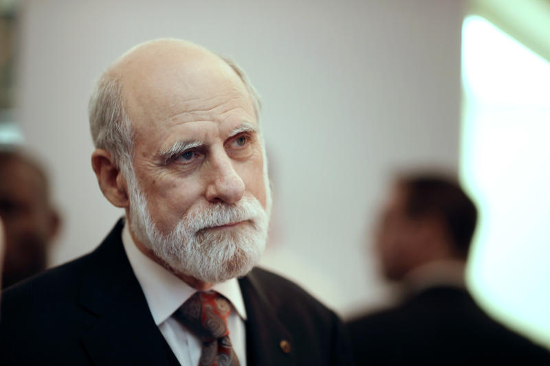 "Vint Cerf, Google's vice president and ""father of the internet,"" was one of more than 20 tech luminaries who wrote a letter to lawmakers this week urging them to push the FCC to cancel its vote on net neutrality. (KENZO TRIBOUILLARD via Getty Images)"