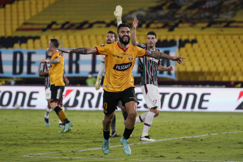 GUAYAQUIL, ECUADOR - AUGUST 19: Gonzalo Mastriani of Barcelona SC celebrates after scoring the first goal of his team during a quarter final second leg match between Barcelona SC and Fluminense as part of Copa CONMEBOL Libertadores 2021 at Estadio Monumental Banco Pichincha on August 19, 2021 in Guayaquil, Ecuador. (Photo by Santiago Arcos-Pool/Getty Images)
