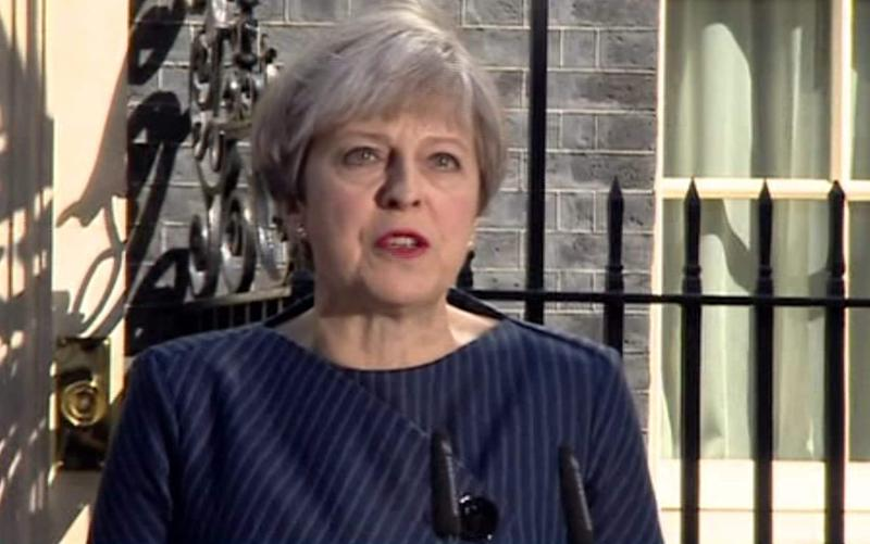 Theresa May speaking outside Downing Street - Credit: BBC