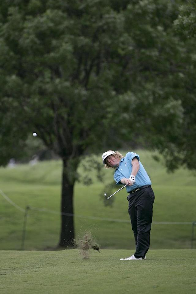 Derek Fathauer hits off the ninth fairway during the Byron Nelson golf tournament at TPC Four Seasons in Irving, Texas, Friday, May 22, 2009. (AP Photo/Tony Gutierrez)