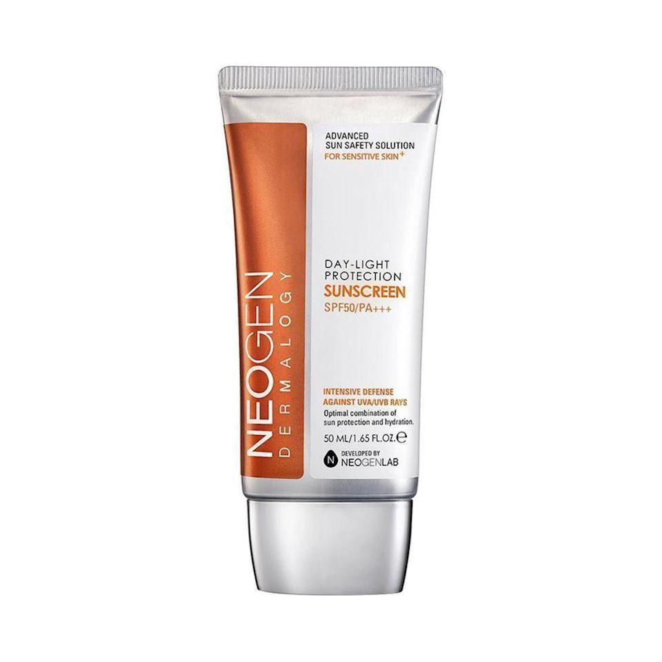 """<p><strong>neogen</strong></p><p>akoco.com</p><p><strong>$29.00</strong></p><p><a href=""""https://akoco.com/products/neogen-dermalogy-day-light-protection-sun-screen-spf50-pa-50ml-ship-from-u-s?variant=29639839187032¤cy=USD"""" rel=""""nofollow noopener"""" target=""""_blank"""" data-ylk=""""slk:Shop Now"""" class=""""link rapid-noclick-resp"""">Shop Now</a></p><p>Address all your skin concerns—age spots, fine wrinkles, blemishes, and elasticity—thanks to Neogen's multi-tasking formula. </p>"""